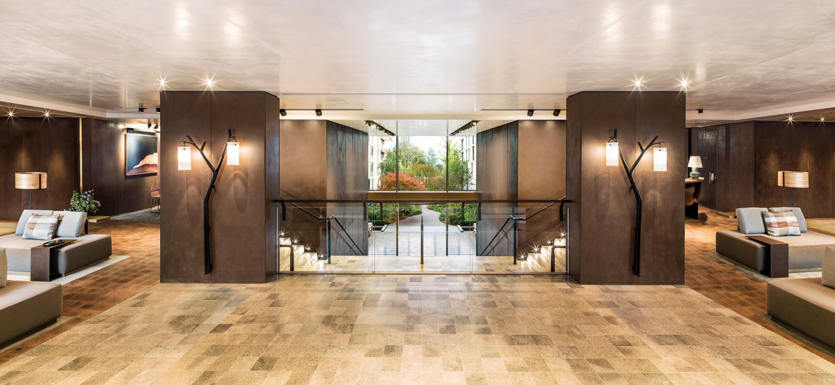 Beautifully designed, double-height reception area